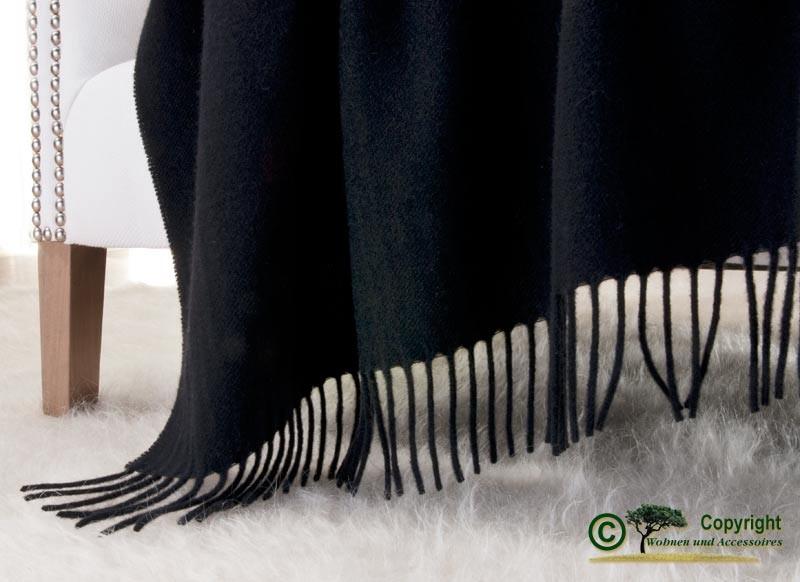 Kaschmirdecke Victoria schwarz, 100% Kaschmir 130x190cm