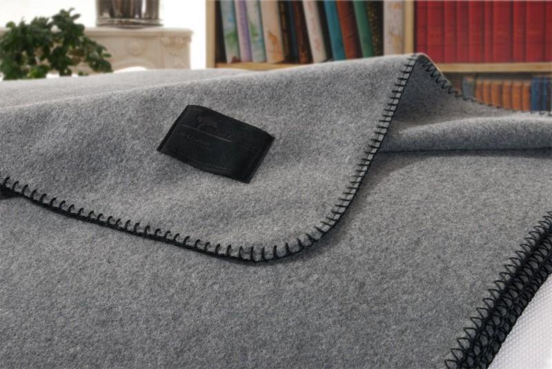 Kaschmirdecke Amalfi umkettelt in grau super sanft und fein von 75x100 - 150x220cm