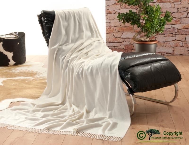 Luxuriöse Kaschmirdecke Perlmutt 130x220cm aus 100% Kaschmir mit Wasserglanz, Wolldecke in wollweiß