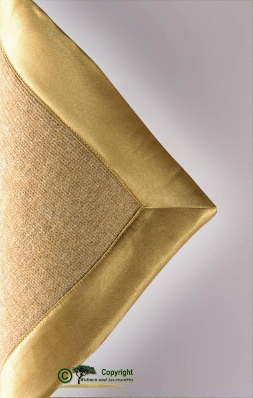 Märchenhafte gestrickte Kaschmirdecke, gestricktes Kaschmirplaid, Wolldecke in gold mit Einfassung