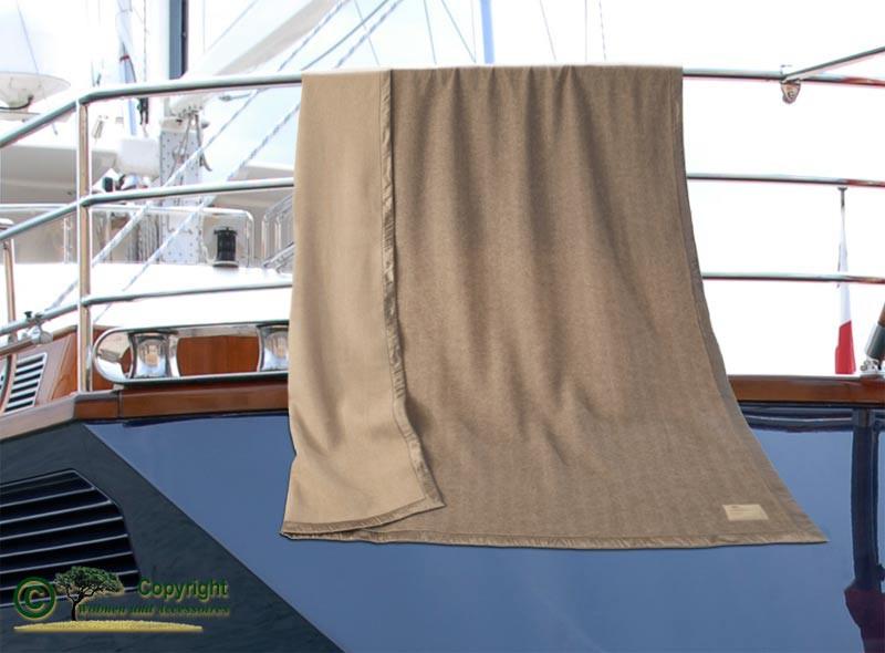 Kaschmirdecke Portofino Seidenband in Doubleface mit Fischgrat Muster 150x200cm