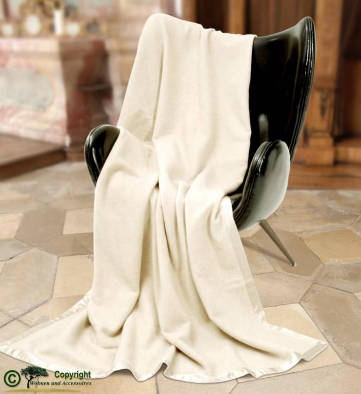 AKTION Großartige Kaschmirdecke, eine wunderbare Wolldecke aus Kaschmir 150x200cm in wollweiß