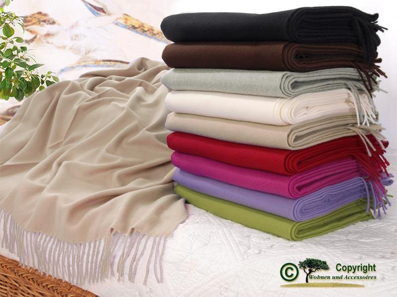 Kaschmirplaid, Wollplaid Riviera, Wolldecke 20% Kaschmir 80% Merino in vielen Farben und 130x190cm