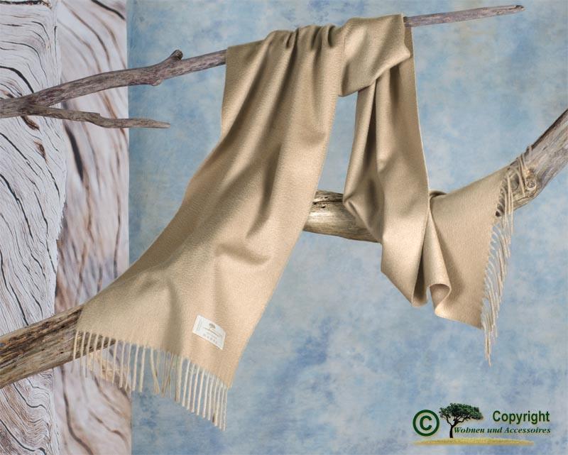 Kaschmir Schal Perlmutt mit Wasserglanz in beige 33x190cm